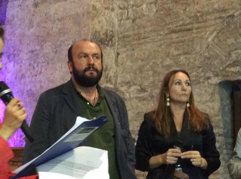 davide rondoni premio Prata 2014 con la Presidente del Premio Antonietta Gnerre